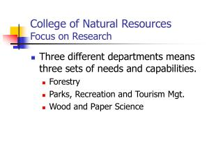 College of Natural Resources Focus on Research
