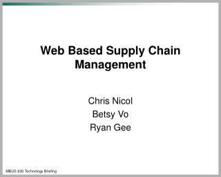 Web Based Supply Chain Management