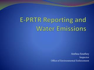 E-PRTR Reporting and Water Emissions