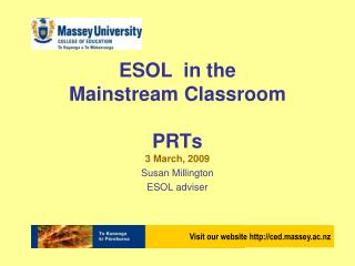 ESOL  in the  Mainstream Classroom PRTs