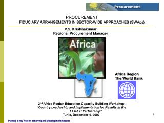 PROCUREMENT FIDUCIARY ARRANGEMENTS IN SECTOR-WIDE APPROACHES (SWAps)
