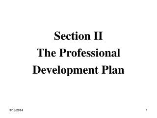 Section II  The Professional Development Plan