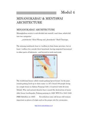 Modul 4 MINANGKABAU & MENTAWAI ARCHITECTURE MINANGKABAU ARCHITECTURE
