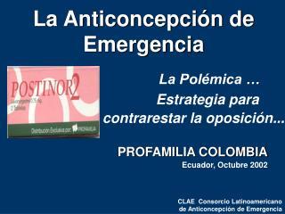 La Anticoncepción de Emergencia