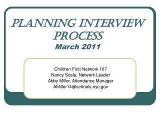Planning Interview Process March 2011