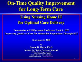 On-Time Quality Improvement  for Long-Term Care