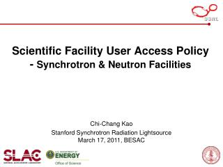 Scientific Facility User Access Policy -  Synchrotron & Neutron Facilities