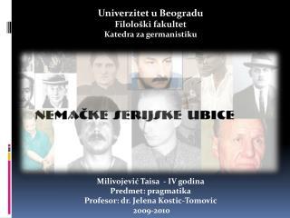Univerzitet u Beogradu Filološki fakultet Katedra za germanistiku