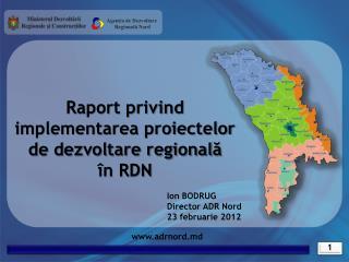 Raport privind implementarea proiectelor  de dezvoltare regională în RDN