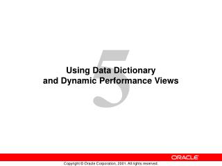 Using Data Dictionary  and Dynamic Performance Views