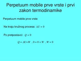 Perpetuum mobile prve vrste i prvi zakon termodinamike