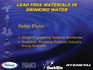 LEAD FREE MATERIALS IN DRINKING WATER