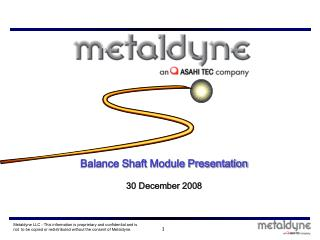 Balance Shaft Module Presentation 30 December 2008
