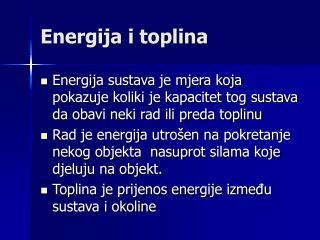 Energija i toplina