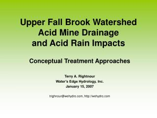 Upper Fall Brook Watershed Acid Mine Drainage and Acid Rain Impacts