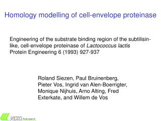 Homology modelling of cell-envelope proteinase