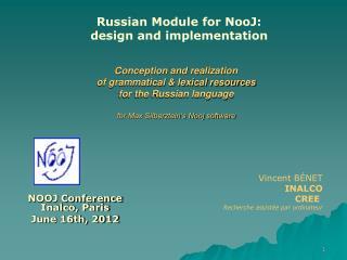 NOOJ Conference Inalco, Paris June 16th, 2012