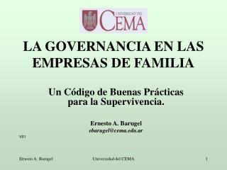LA GOVERNANCIA EN LAS EMPRESAS DE FAMILIA