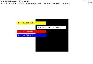 IL LINGUAGGIO DELL'ARTE IL COLORE, LA LUCE E L'OMBRA, IL VOLUME E LO SPAZIO. L'INDICE