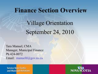 Finance Section Overview