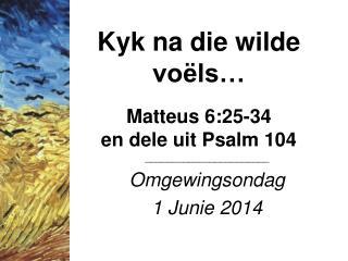 Kyk na die wilde voëls… Matteus 6:25-34 en dele uit Psalm 104