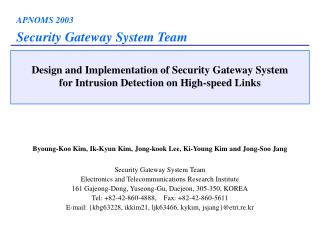 Design and Implementation of Security Gateway System for Intrusion Detection on High-speed Links