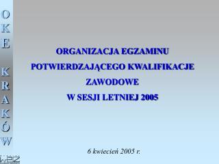 ORGANIZACJA EGZAMINU POTWIERDZAJĄCEGO KWALIFIKACJE ZAWODOWE  W SESJI LETNIEJ 2005