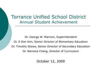 Torrance Unified School District Annual Student Achievement
