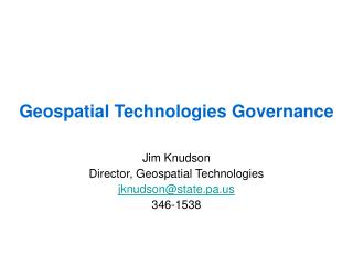 Geospatial Technologies Governance