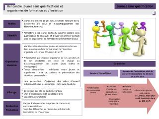 Rencontre jeunes sans qualifications et  organismes de formation et d'insertion