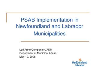 PSAB Implementation in  Newfoundland and Labrador Municipalities