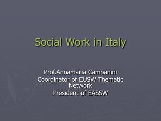 Social Work in Italy