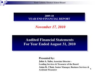 2009-10 YEAR END FINANCIAL REPORT