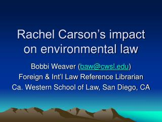 Rachel Carson's impact on environmental law