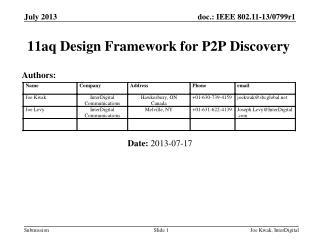 11aq Design Framework for P2P Discovery