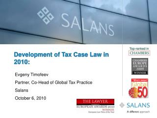 Development of Tax Case Law in 2010: