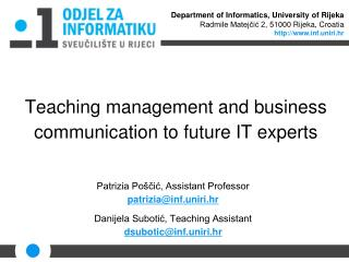 Teaching management and business communication to future IT experts