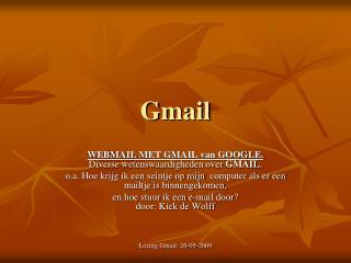 Lezing Gmail  26-05-2009