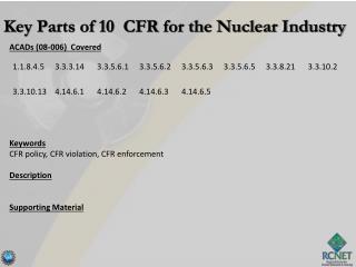 ACADs (08-006)  Covered Keywords CFR policy, CFR violation, CFR enforcement Description