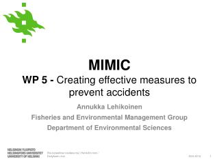 MIMIC  WP 5 -  Creating effective measures to prevent accidents