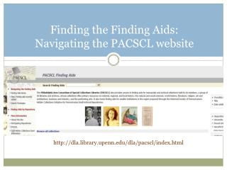Finding the Finding Aids:  Navigating the PACSCL website