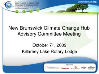New Brunswick Climate Change Hub Advisory Committee Meeting