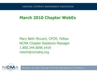 March 2010 Chapter WebEx
