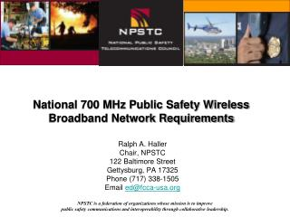 National 700 MHz Public Safety Wireless Broadband Network Requirements