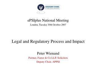 ePSIplus National Meeting London, Tuesday 30th October 2007