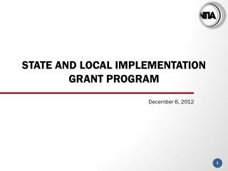 State and local Implementation Grant Program