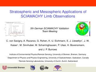 Stratospheric and Mesospheric Applications of SCIAMACHY Limb Observations