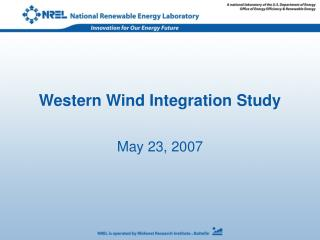 Western Wind Integration Study