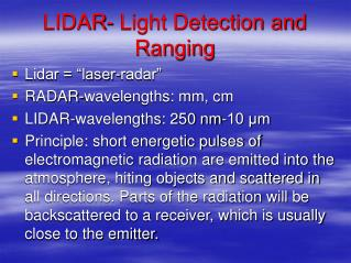 LIDAR- Light Detection and Ranging