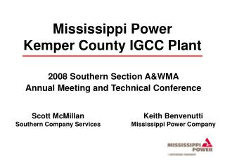 Mississippi Power Kemper County IGCC Plant